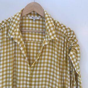 Madewell XL Checker Button Down Scrunch Sleeve